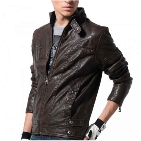 leather sleeve blazer stand collar black sleeves leather biker jacket for hugme fashion