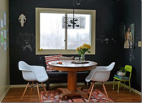 chalkboard paint living room decorating a dining room in an eclectic casual style