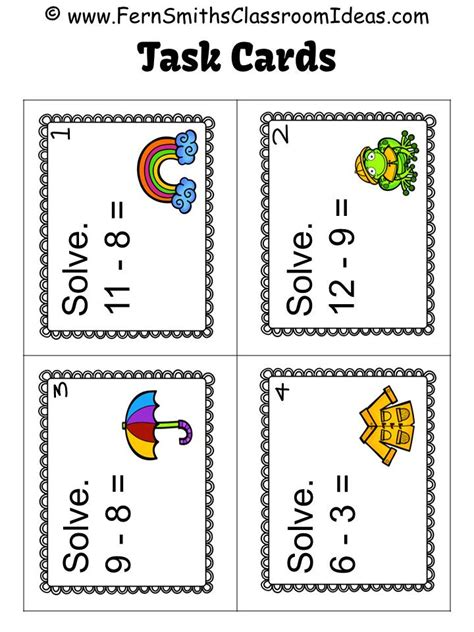 task cards classroom freebies fern smith s free mixed subtraction