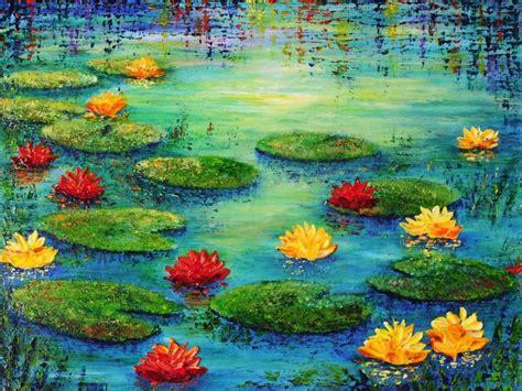acrylic paint artist pad pond acrylic painting by teresa wegrzyn painting