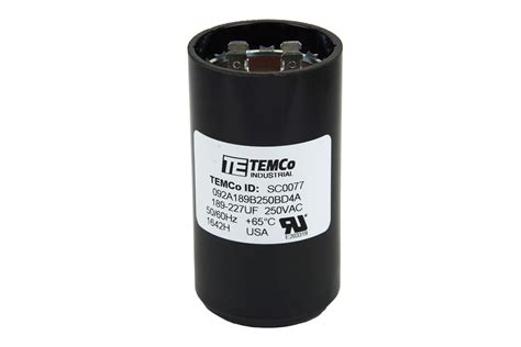 Electric Motor Capacitor by Temco 189 227 Mfd Uf Electric Motor Start Capacitor 220