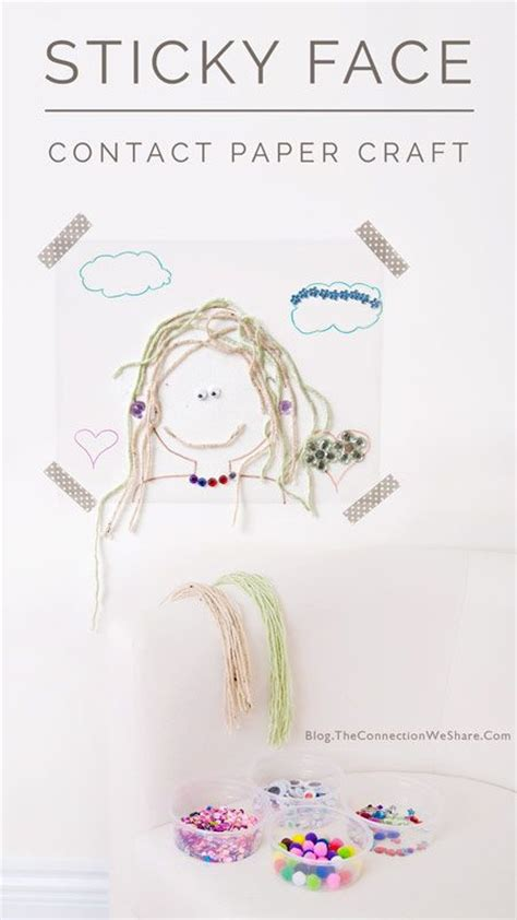 craft contact paper easels yarns and self portraits on