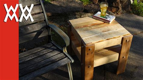 woodworking for mortals rustic side table made with pallet wood woodworking for