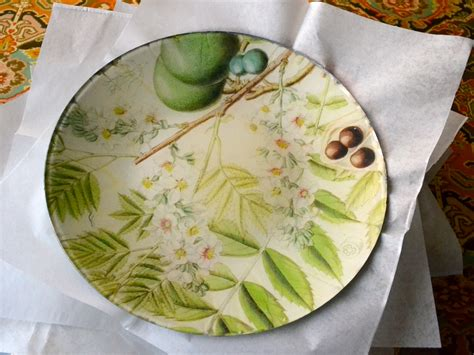 Flowering Branches Decoupage Plate Plum By