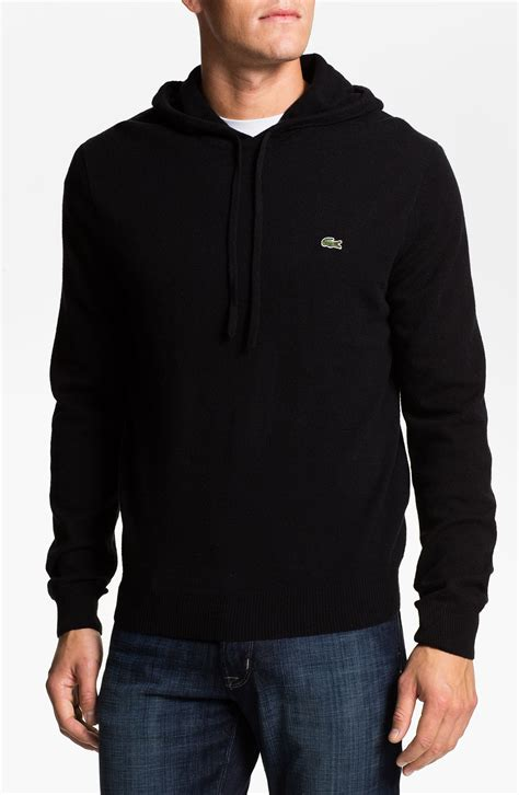 knitted hoodies lacoste wool knit hoodie in black for lyst