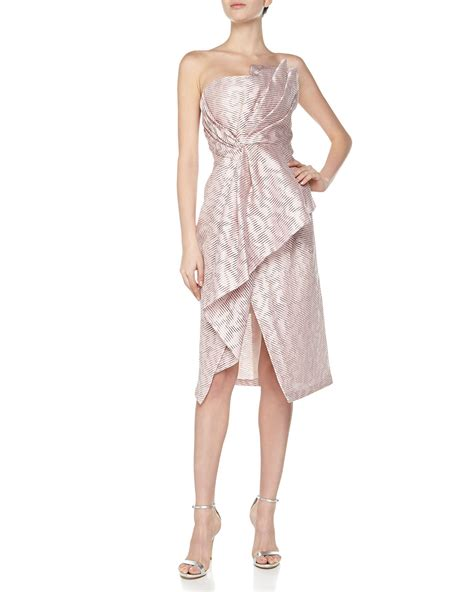 origami dresses for j mendel strapless origami bustier dress in pink for
