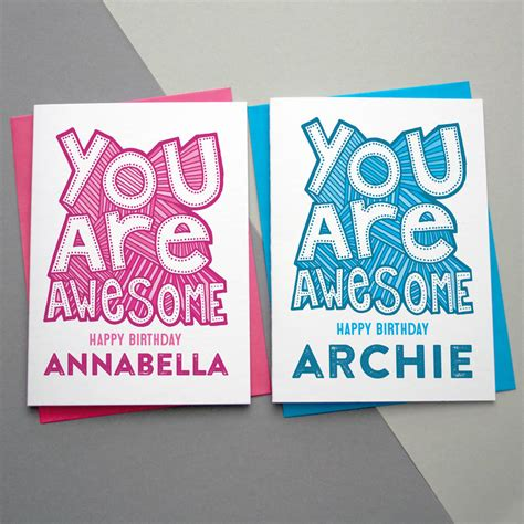 how to make awesome birthday cards you are awesome personalised birthday card by a is for