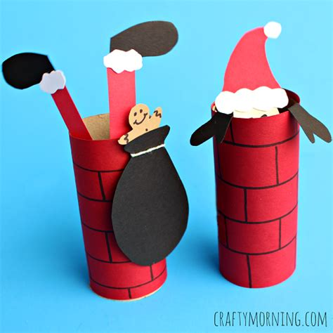 tissue paper roll craft craft santa going a toilet paper roll