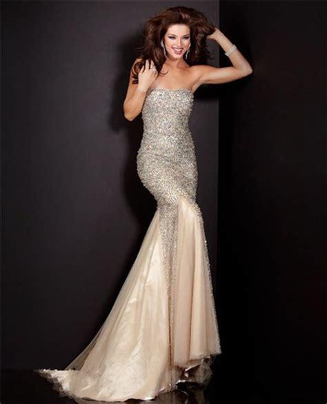 beaded mermaid prom dress graceful mermaid strapless chagne tulle heavy beaded