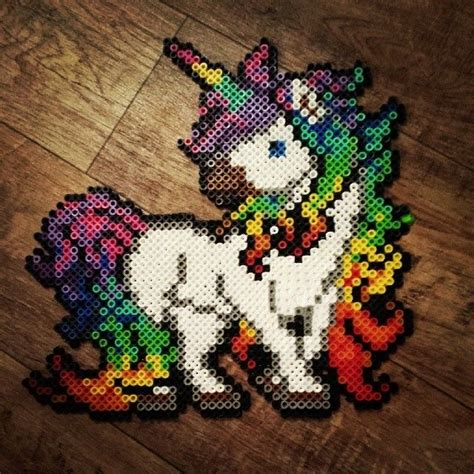 perler pictures rainbow unicorn perler by hnl plur plastic canvas