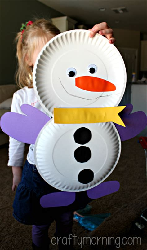 snowman paper plate craft diy snowmen paper plate winter craft for crafty