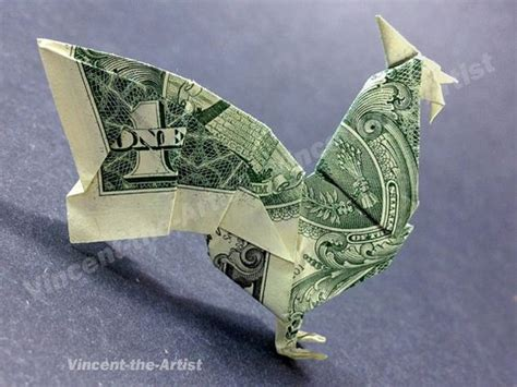 origami with dollar bills easy dollar bill origami rooster dollar bill