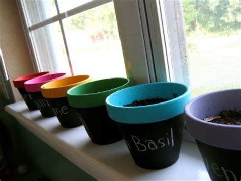 diy chalk paint with acrylic diy chalkboard and acrylic painted clay pots for herb