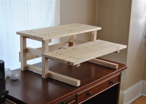 standing desk woodworking plans diy project plan two monitor standing computer desk diy