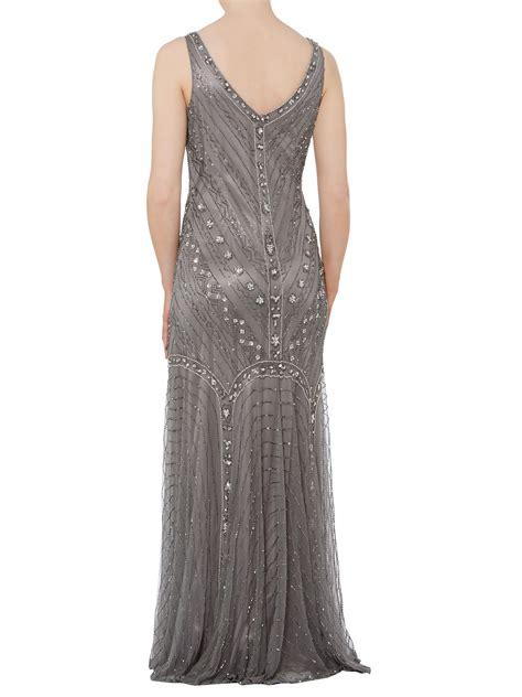gray beaded dress shubette fishtail beaded dress in gray pewter lyst