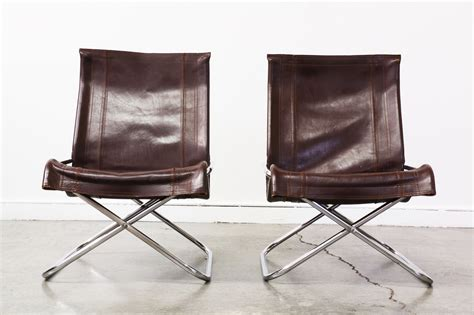 Mid Century Folding Chair by Mid Century Folding Leather Chrome Lounge Chairs