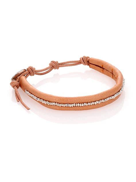 leather beaded bracelets chan luu sterling silver leather beaded wrap bracelet in
