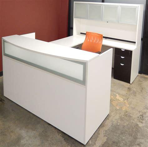 white u shaped desk white woodgrain u shaped reception desk