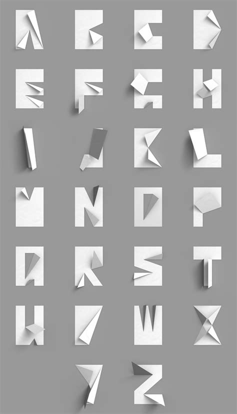 origami font folded paper type in black white 171 plenty of colour