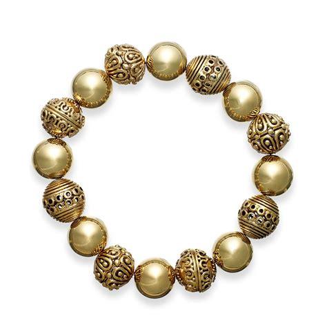 stretch bead bracelets by ralph gold tone textured bead stretch