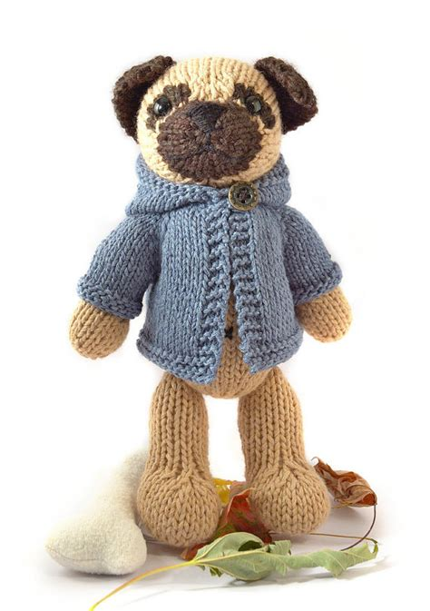 knitted pug pattern pug with anorak knitting pattern