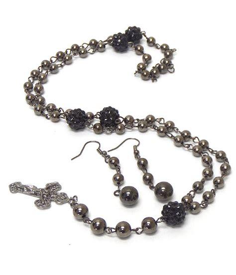 rosary bead jewelry rosary bead black fireball pearl necklace vs jewelry