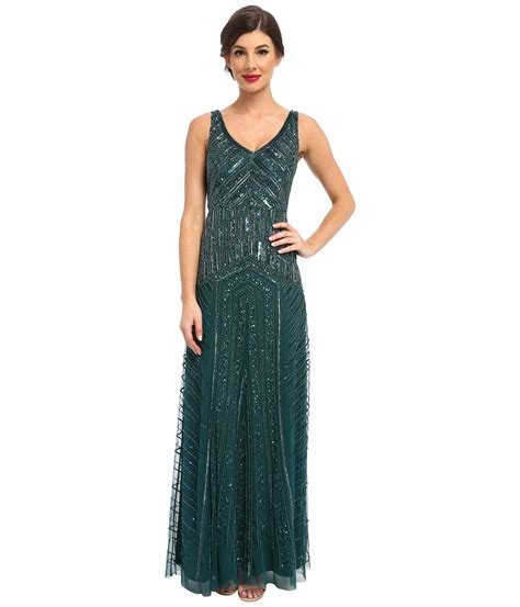green beaded dress papell beaded dress in green lyst