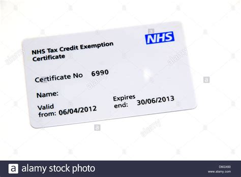 card uk uk nhs tax credit exemption certificate card stock photo