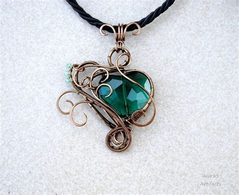 how to make wire jewelry pendants emerald green wire wrapped pendant ooak by