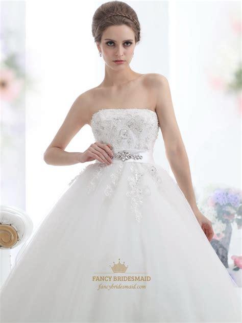 tulle beaded dress ivory strapless beaded appliques tulle wedding dresses