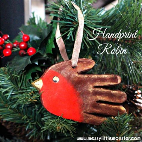 print crafts handprint robin ornament