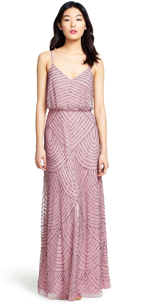 beaded dress papell deco beaded blouson gown in lyst