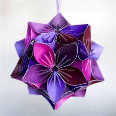 kusudama flower origami mini kusudama purple pink origami flower