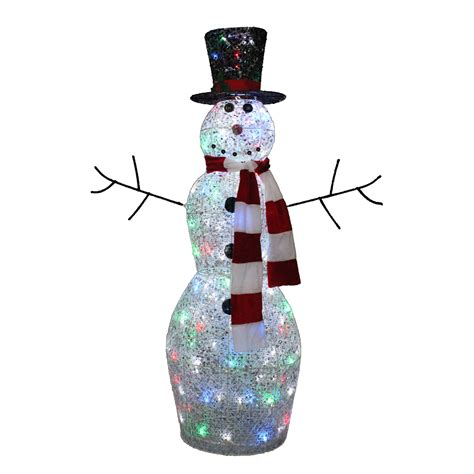 outdoor light up snowman trimming traditions 48in twinkling snowman with 100 led