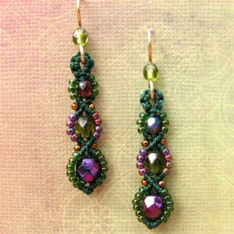 beading earrings macrame earrings beaded earrings beadwork purple and green