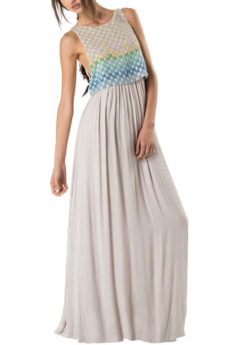 taupe beaded dress mara hoffman linen beaded maxi dress in beige taupe lyst