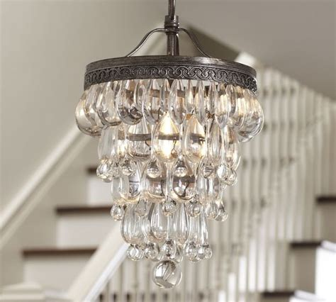 small chandeliers for bathrooms clarissa glass drop small chandelier pottery barn