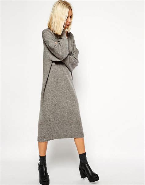 knit midi dress asos white asos white oversized grey knit midi dress at asos