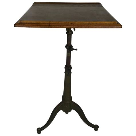 cast iron drafting table adjustable oak and cast iron drafting table at 1stdibs