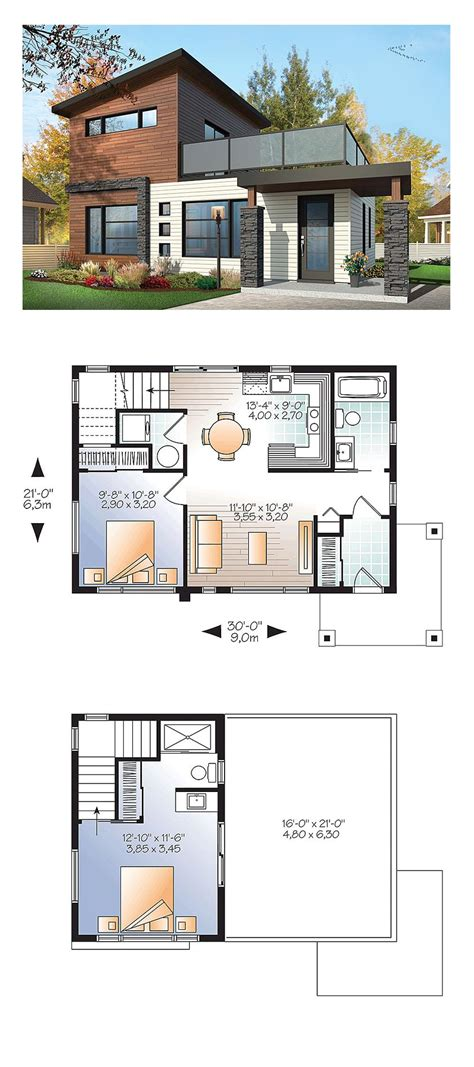 modern house blueprints modern house plan 76461 total living area 924 sq ft 2 bedrooms and 2 bathrooms