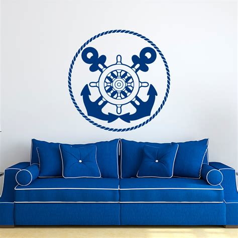 nautical wall stickers nautical wall decal anchors stickers ship wheel decor blue