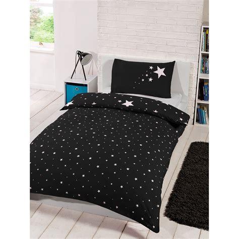 single bedding set glow in the single duvet set black bedding