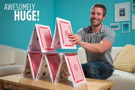 how do you make a house of cards king size cards 10 times the size