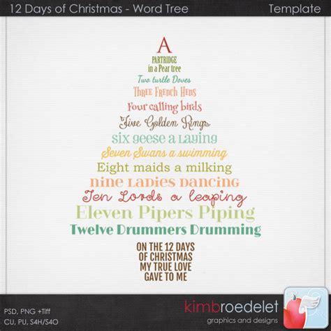 12 days of tree templates 12 days of wordy tree