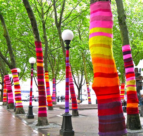 knit bombing yarn bombing artsy forager