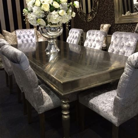 Glass Top Dining Room Set crushed velvet roll top buttoned dining chairs fabric