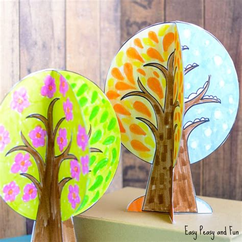 trees craft four seasons tree craft with template easy peasy and