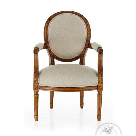 fauteuil louis xvi tissu beige monceau saulaie