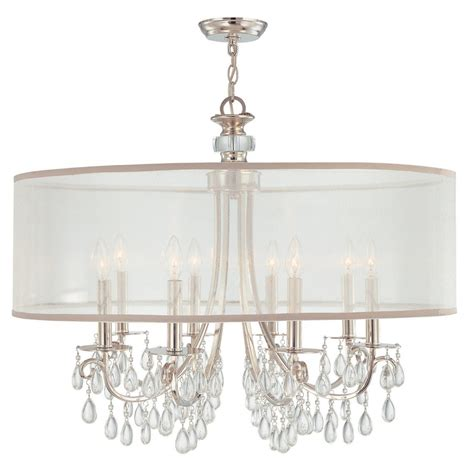 lshade chandelier hton 8 light 32 quot polished chrome chandelier