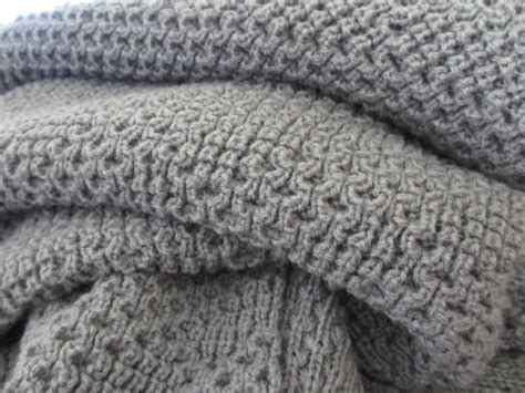 gray knit blanket knitted blanket afghan throw medium gray